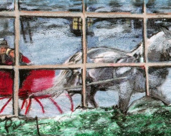 original art  aceo drawing red sleigh ride white horse out window