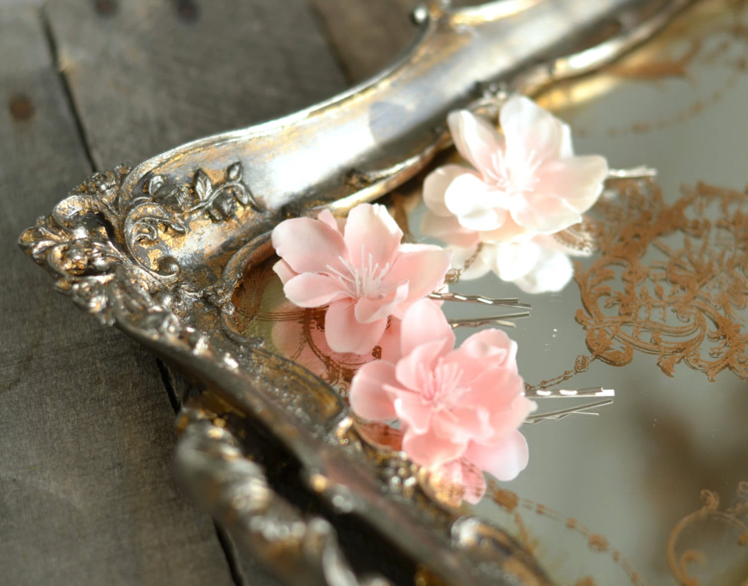 Pink flower bobby pins floral hair clips pastel flower zoom izmirmasajfo Image collections