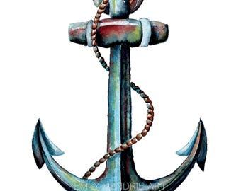 Anchor Art / Watercolor Anchor / Anchor Painting / Beach Art / Home decor / Beach Decor