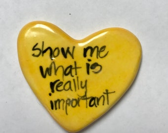 What is important special edition Ceramic  Pocket Prayer heart with cross