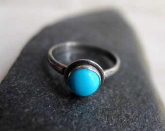 Turquoise Gemstone Ring, Sterling Silver and Turquoise Stone Ring Size 7, Blue Aqua Small Gemstone Ring, December Birthstone Ring