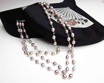 "Baroque Pink Pearls, Oval Cultured Pearls Sterling w. Gold Wash Wire Wrap, Opera Length Pearls, 60""Long Pearl Necklace, Rose Colored Pearls."