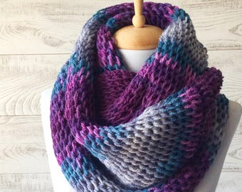 Purple grey scarf knit scarf cowl chunky knit scarf knit scarf infinity scarf gifts for him FAST DELIVERY