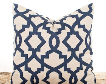 SALE ENDS SOON Navy Pillows, Lattice Indigo Pillow Cover, Blue Pillowcases, Lattice Pillows, Blue Toss Pillows, Bed Pillows, Soft Cotton Pil