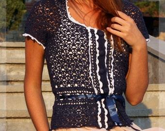 Replica of Kate Middleton Royal blouse - custom made, handmade, crochet - 100% cotton navy yarn ,white decoration. . Kate Middleton style
