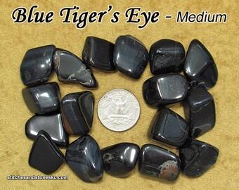 Blue Tiger's Eye (medium) tumbled stone for crystal healing (Hawk Eye Tiger Eye)