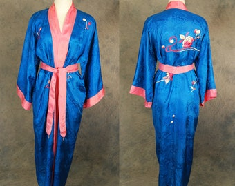 vintage 30s Kimono Robe - 1930s Asian Floral Embroidered Kimono - Blue Silk Asian Duster Dressing Gown Sz S M L