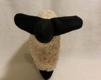 Stuffed lamb, flat toy, snuggly stuffed lamb - woolly oatmeal sheep