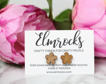 Flower Shaped Earrings - Solid Wood - Laser Cut
