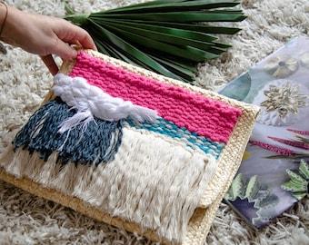 Summer Handwoven strawbag clutch by Ranran Design
