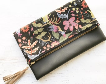 Floral Rifle Paper Co Canvas & Black Faux Leather Foldover Clutch - Gift for her, Birthday, Anniversary, Bridesmaid
