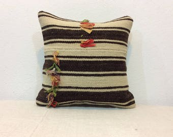 """Organic cream wool with dark brown striped pillow cover vintage kilim pillow cover organic cushion cover 16""""x16"""" pillow cover kelim pillow"""