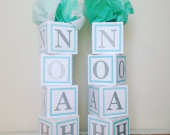 Blue and white, Baby boy shower centerpiece, BLUE BORDERS,alphabet block centerpiece, baby shower decorations