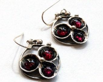 Sterling silver Earrings, oxidized earrings, three red garnet earrings, gemstone earrings, simple earrings, casual - Into the Night E2051