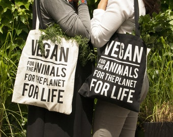 VEGAN Tote bag for all VEGGIE lovers!! Double sided - One side Black, One side Beige!