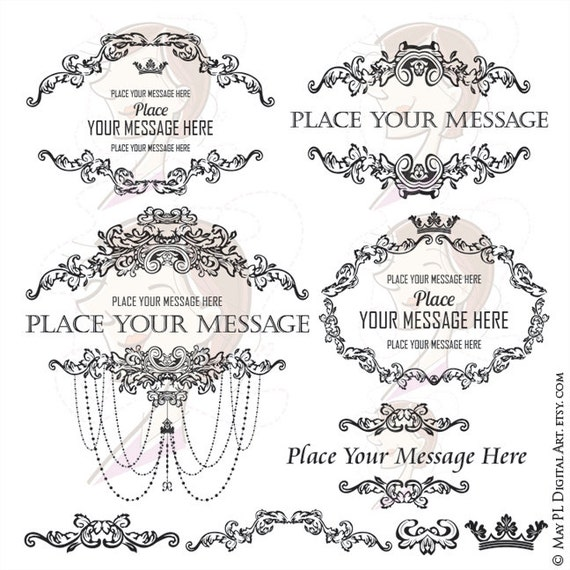 French Country Design Clipart Include Vintage Frames Chandelier Oval Wreath Motif And Elements