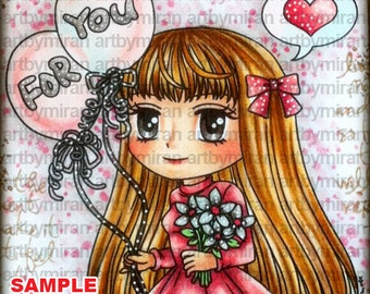 Digital Stamp - Happy Birthday Vannessa (#237), Digi Stamp, Coloring page, Printable Line art for Card and Craft Supply