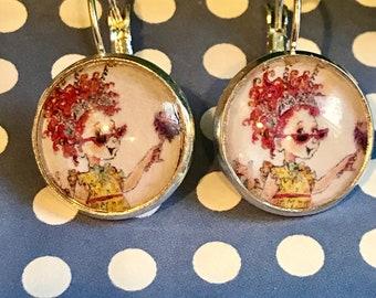 Fancy Nancy cabachon earrings - 16mm