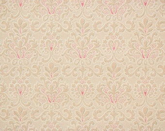 1920s Vintage Antique Wallpaper Beige and Red Damask on Beige by the Yard--Made in England