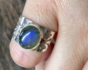 Blue Fire Labradorite + Sterling Silver 925 Statement Ring Size 7
