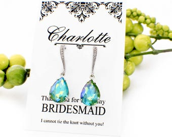 Crystal bridesmaid jewelry, blue green bridesmaid earrings, green drop earrings, green bridal jewelry, green crystal earrings, wedding party