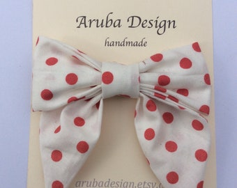 Hair Bow Clip, hair accessory . Made in red and white polka dot cotton