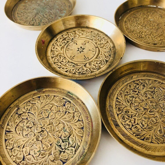 Vintage Brass Dishes Set of 5 Small Etched Floral Brass Plates/Coasters Votive Candle Holders Boho Decor