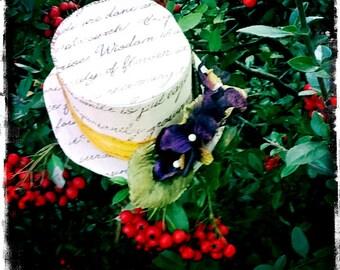 Victorian Mini Top Hat - Words of Love - A Defiant Hat