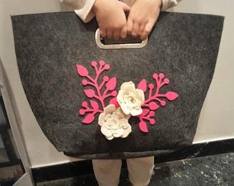 Felt bag with Rose and Italian handmade twig