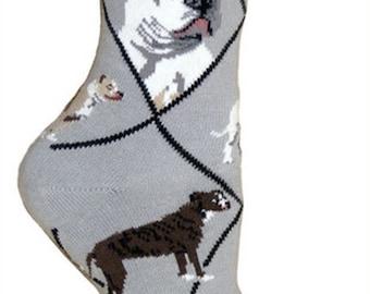 American Bulldog Dog Breed Lightweight Stretch Cotton Adult Socks