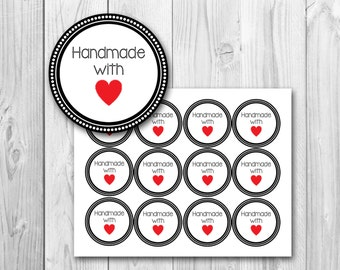 Handmade with love tags, gift tags, printable gift tags, instant download