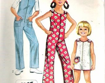 """Vintage 1970 Simplicity 8768 Girl's Jiffy Jumpsuit in Two Lengths Sewing Pattern Size 7 Breast 26"""""""