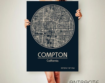 COMPTON California Map Compton Poster City Map Compton California Art Print Compton California poster Compton California map art