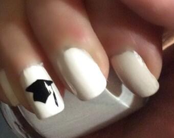Nail Decal / Nail Sticker / Nail Art / Fingernail Art / Nail Accessories / Graduation Cap