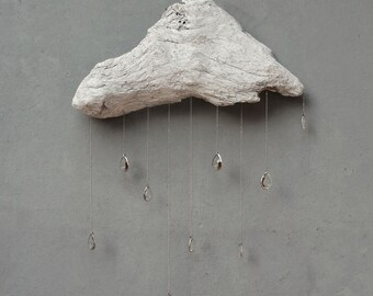 Driftwood Cloud with Vintage Crystal Raindrops - Extra Extra Large Wall Hanging