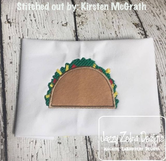 Taco Applique Embroidery Design - taco applique design - taco tuesday appliqué design - mexican food appliqué design - food appliqué design