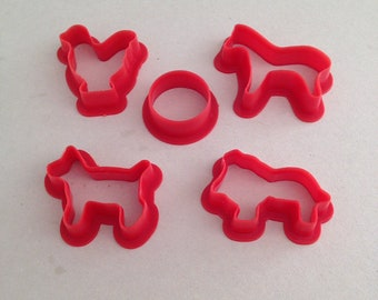 Vintage Mini Bite-Size, Cookie Cutters, Set of 5 Five, Animals, Plus Circle, From 1960s, Made of Red Plastic, 1 to 1.5 Inches In Diameter