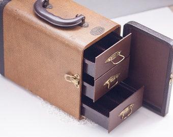 Vintage Slide Holder Case, Barnette Jaffe, Baja, Storage Case, Case with Drawers & Latch, 35mm Slide Case