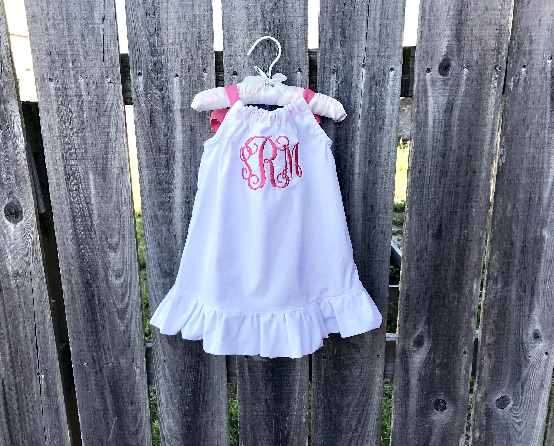 Toddler beach dress coral pink monogrammed baby dress