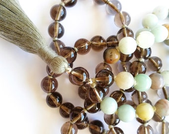 I Fight For My Truth - Mala with Amazonite and Smoky Quartz