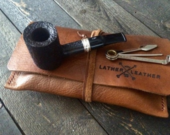 Leather Pipe Tobacco Pouch Roll- 100% Genuine- Old School Wrap- Premium Original Rustic Handmade Case- Personalized Medium Large XL