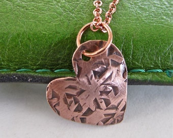 Valentine heart necklace hammered antiqued Ready to give as a gift for someone special