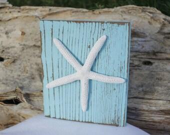 Starfish Art Wooden Block Sign Hand Painted Aqua Distressed Reclaimed Upcycled Wood Coastal Beach Nautical Nursery Decor