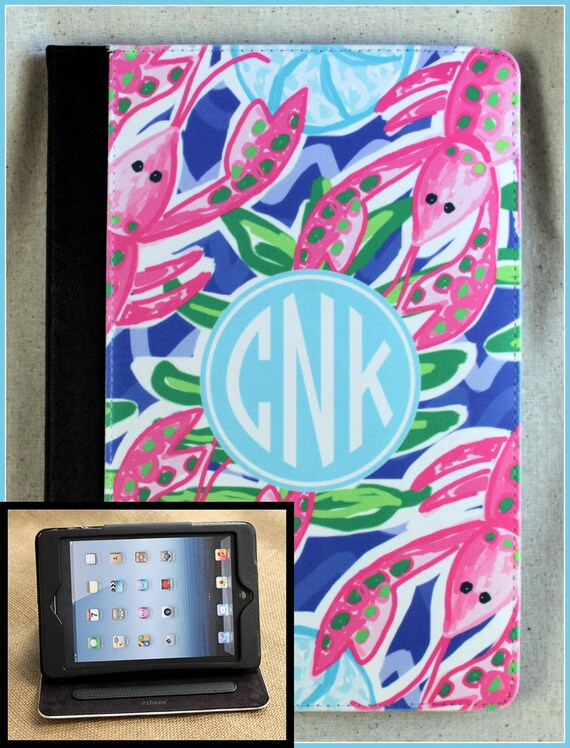 Nautical Preppy iPad Preppy Lobsters Air iPad 2 iPad 3 iPad Air iPad Mini Masker Case Cover Monogram Personalized Custom Adjustable