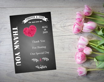 Personalised Wedding Thank You Cards with Matching Envelopes Pack Of 10 TY103