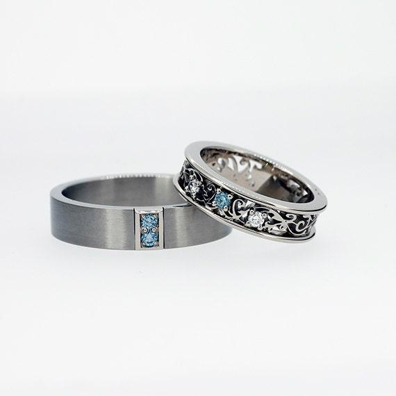 Aquamarine Wedding Ring Set Men S Palladium Band