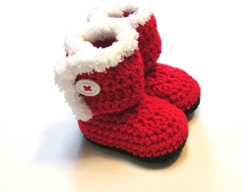 Baby santa boot booties.  Crochet Christmas booties for infant and babies.  Christmas photography prop, baby stocking stuffer, shower gift.