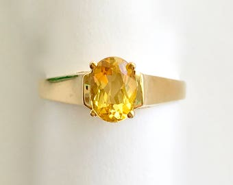 Citrine Ring Faceted Oval 14K Gold Mount, Estate Jewelry November Birthstone Gemstone Jewerly