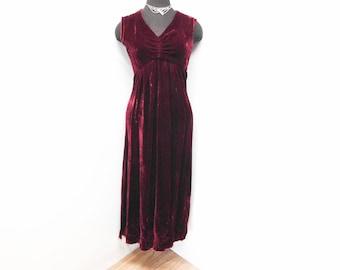 Vintage 70s Burgundy Maroon Velvet Maxi Dress Sleeveless Gothic Wiccan Pagan Priestess Winter Solstice S Small M Medium 4 6