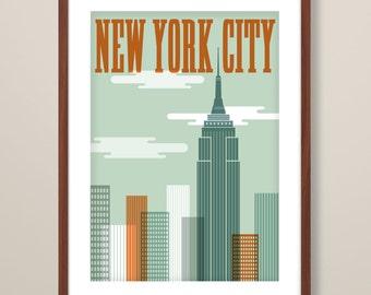 New York travel print, New York art print, New York inspired print, typographic print, travel poster, typographic art, New York poster art